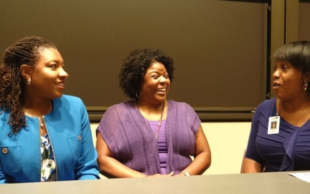 Left to right: Lorraine Goffee- Rush, named Vice Chancellor for Human Resources with Tia Drake, Executive Director - Graduate Medical Education and Rochelle Smith, Director , Diversity, Summer Programs and Community Outreach in the Division of Biology and Biomedical Sciences at the Testimonies Project presentation on 9/25/2013.