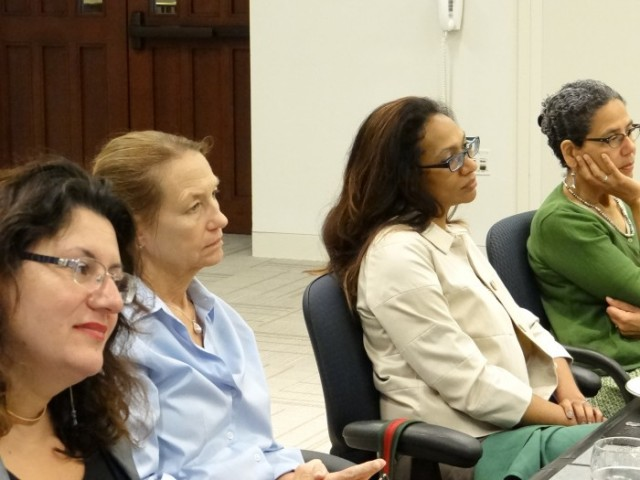 Left to Right - Anne Glowinski, professor of psychiatry; Mary Ann Dzuback, associate professor of education; Shanti Parikh, associate professor of anthropology and  Rafia Zafar, professor and associate dean in the Graduate School, listen intently to the advise of Dr. Ruth Simmons ( not pictured here.)