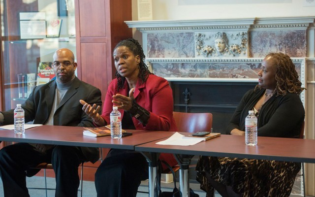 Right to left- Vetta S. Thompson, associate professor at the Brown School, Kim Norwood, professor of law and Richard Harvey, associate professor of psychology at Saint Louis University.