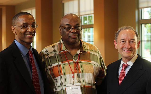 Left to right: William F. Tate, Dean of the Graduate School of Arts and Sciences and Vice Provost for Graduate Education; Euclid Williamson, director of Target Hope  and Chancellor Mark Wrighton.
