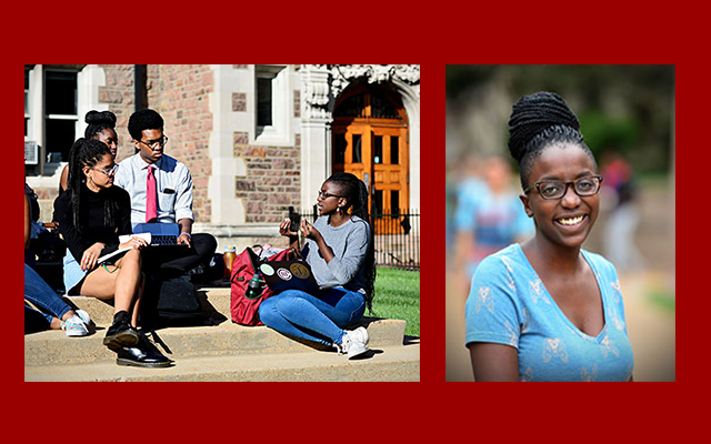 Photo left by James Byard. Senior Kisha Bwenge (right) talks with her fellow Mellon Mays scholars in Brookings Quadrangle.