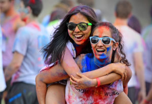 Two students at the Holi Festival