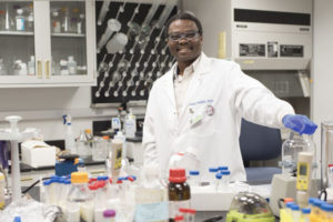 Samuel Achilefu in his lab